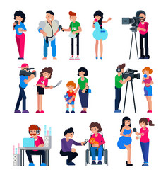 journalist cameraman character and tv vector image