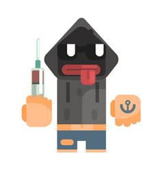 junkie with hoodie and shades holding syringe vector image