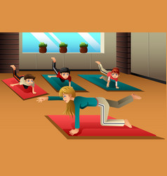 kids in a yoga class vector image