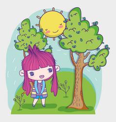 kids little girl anime cartoon standing in the vector image