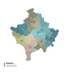 kosovo higt detailed map with subdivisions vector image