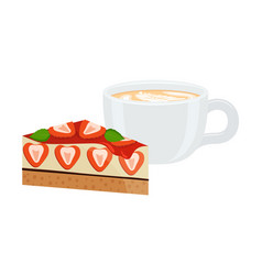 latte in cup and cake poster vector image