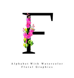 letter f watercolor floral background vector image