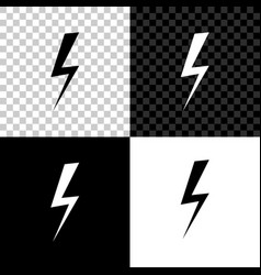 lightning bolt icon isolated on black white and vector image