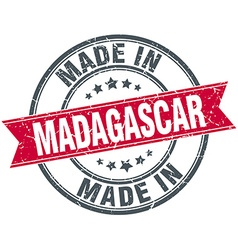Made in Madagascar red round vintage stamp vector