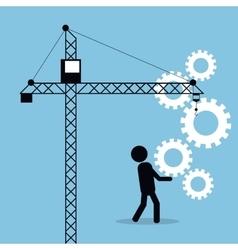 Man carrying gears crane business concept vector