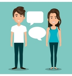man woman talking bubble dialogue isolated vector image