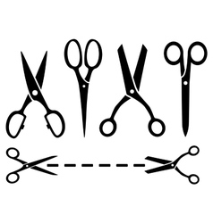 many isolated scissors set vector image