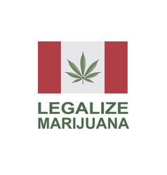 marijuana leaf on canada flag vector image