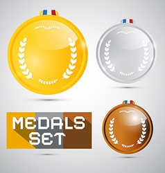 Medals Set - Gold Silver Bronze First Second Third vector image