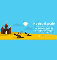 Medieval castle banner horizontal concept vector