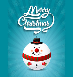 merry christmas lettering text with christmas toy vector image
