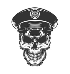 Military officer skull in black hat vector