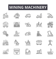 mining machinery equipment line icons signs vector image