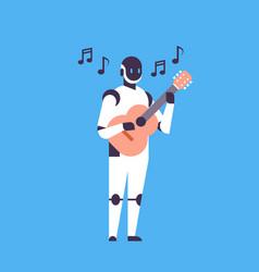 modern robot playing guitar music helper bot vector image