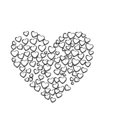 Monochrome sketch of many hearts forming a big vector