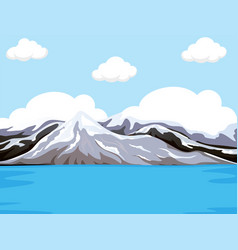 Mountain next to the water vector