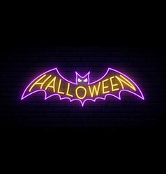 neon halloween sign bright halloween vector image