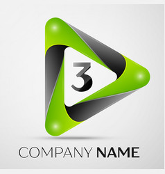 Number three logo symbol in the colorful triangle vector