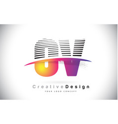 ov o v letter logo design with creative lines and vector image