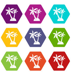palm trees icon set color hexahedron vector image