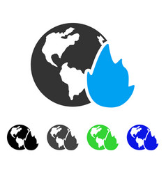 Planet flame flat icon vector