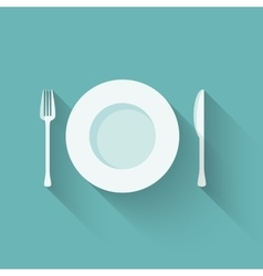 Plates and cutlery with long shadows vector image