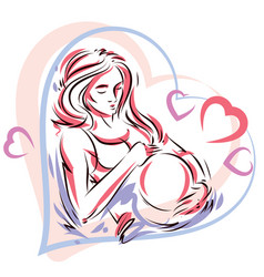 Pregnant woman elegant body silhouette placed in vector