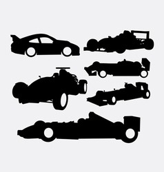 Race car and transportation silhouette vector