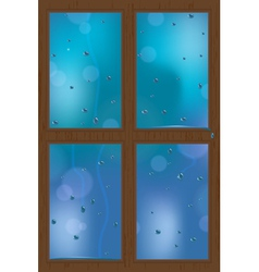 rainy window vector image