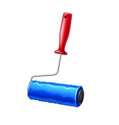 realistic paint roller blue liquid paint vector image
