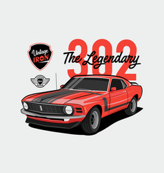 Red muscle car 302 - vintage iron - legendary vector