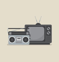 retro television and radio vector image