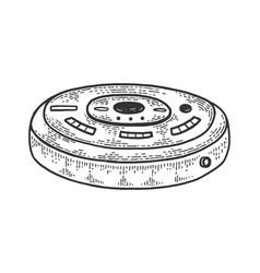 robotic vacuum cleaner sketch engraving vector image