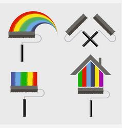 roller brush icon set isolated on white background vector image