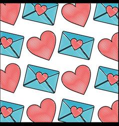 romantic love heart message envelope pattern vector image