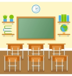 School classroom with chalkboard flat vector image