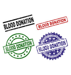 scratched textured blood donation seal stamps vector image