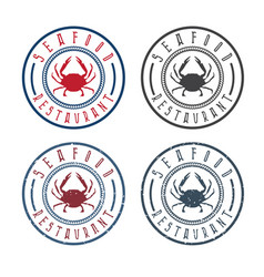 Seafood restaurant labels set with crab vector