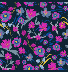 seamless pattern with small flowers on a dark vector image