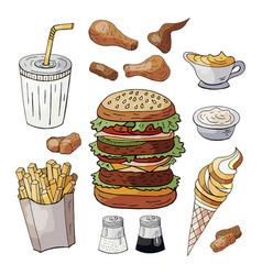 set fast food color elements drinks burgers vector image