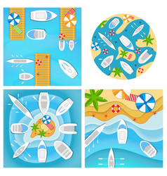 set four pictures with boats and yachts vector image