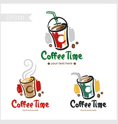 set of retro coffee badge label logo design in vector image