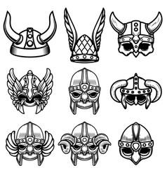 set viking helmets design element for logo vector image