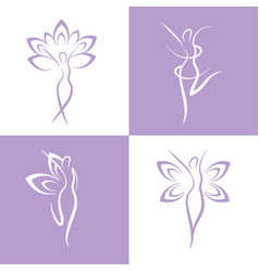 Set woman with healthy therapy treatment vector