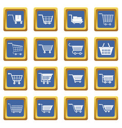 shopping cart icons set blue vector image