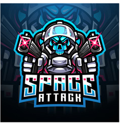 Skull space attack esport mascot logo vector