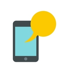 Smartphone with yellow speech bubble icon vector image