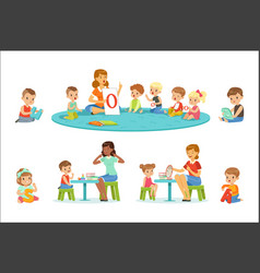 smiling little boys and girls sitting on floor vector image