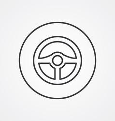 steering wheel outline symbol dark on white vector image